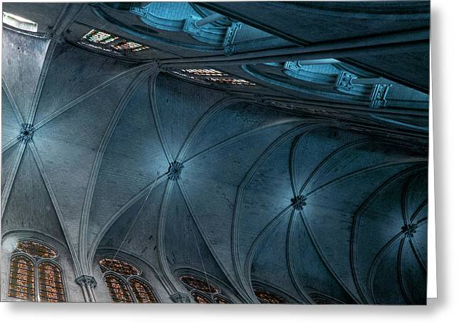 Medieval Temple Greeting Cards - Notre Dame Ceiling North in Teal Greeting Card by Evie Carrier