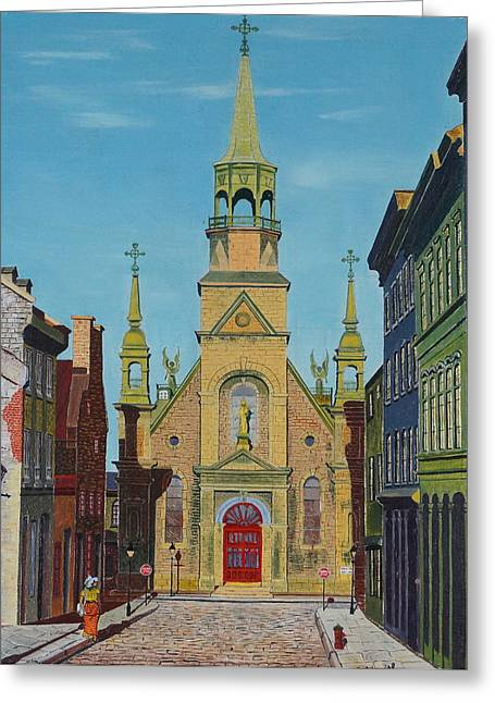 Notre Dame Drawings Greeting Cards - Notre Dame De Bonsecours Greeting Card by William Goldsmith