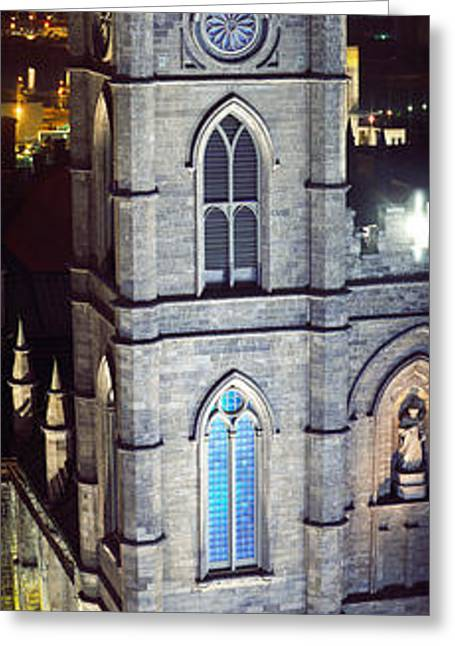 Notre Dame De Montreal At Night Greeting Card by Panoramic Images