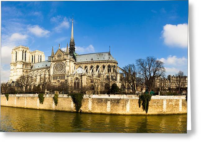Historic Site Greeting Cards - Notre Dame de Paris and the River Seine Greeting Card by Mark Tisdale