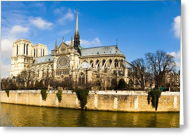 Notre Dame De Paris And The River Seine Greeting Card by Mark E Tisdale