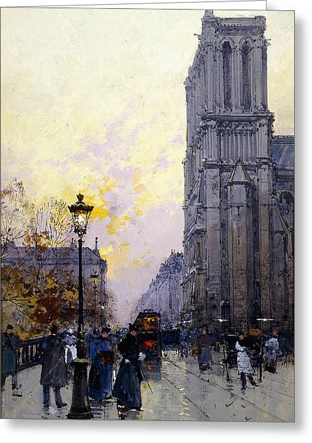 Mid-adult Greeting Cards - Notre Dame de Paris Greeting Card by Eugene Galien-Laloue