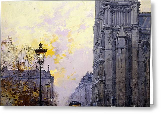 Notre Dame de Paris Greeting Card by Eugene Galien-Laloue
