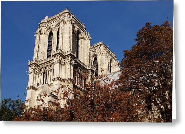 Notre-dame De Paris - French Gothic Elegance In The Heart Of Paris France Greeting Card by Georgia Mizuleva
