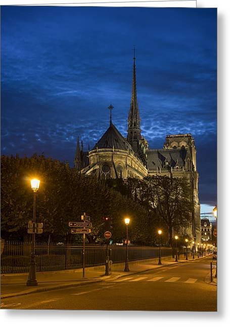 Twilight Pyrography Greeting Cards - Notre Dame de Paris in the twilights Greeting Card by Vyacheslav Isaev