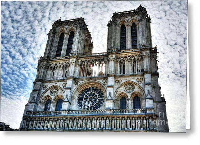 Cathedral Window Greeting Cards - Notre Dame De Paris Greeting Card by Mel Steinhauer