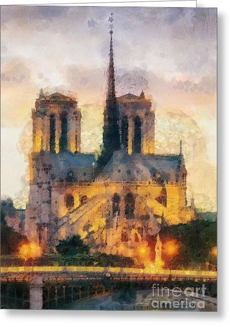 Mo T Greeting Cards - Notre Dame de Paris Greeting Card by Mo T