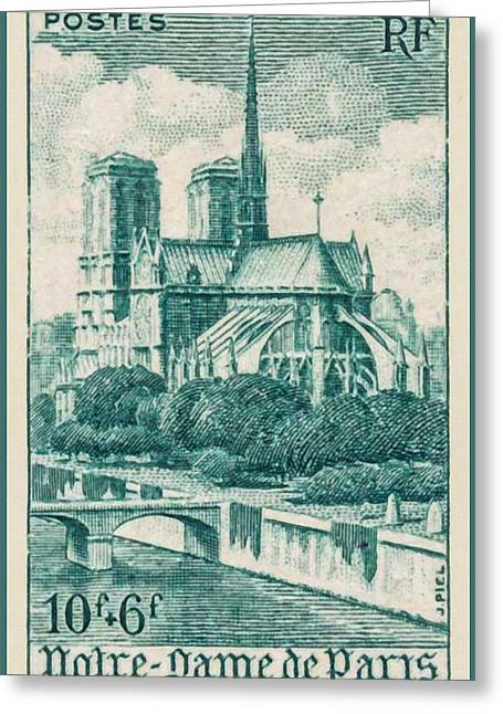 """france Poster"" Greeting Cards - Notre-Dame de Paris stamp Greeting Card by Lanjee Chee"