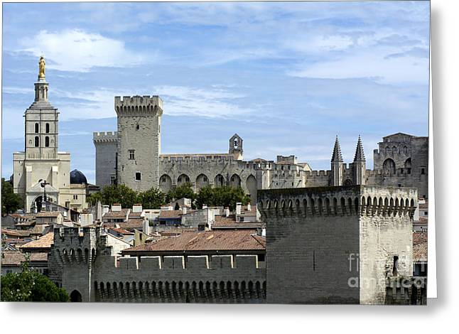 South Of France Photographs Greeting Cards - Notre-Dame-des Doms cathedral and Palais des Papes. Avignon. France Greeting Card by Bernard Jaubert