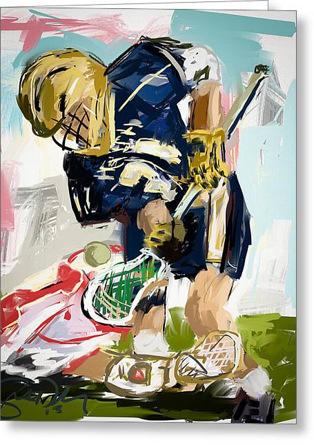 Scott Melby Greeting Cards - College Lacrosse Faceoff 1 Greeting Card by Scott Melby