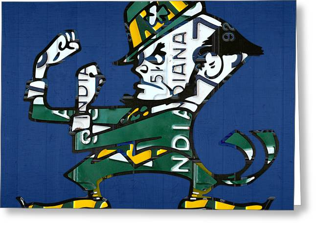 Fighting Greeting Cards - Notre Dame Fighting Irish Leprechaun Vintage Indiana License Plate Art  Greeting Card by Design Turnpike