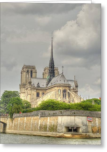 Historic Site Greeting Cards - Notre Dame from the Seine Greeting Card by Linda Covino