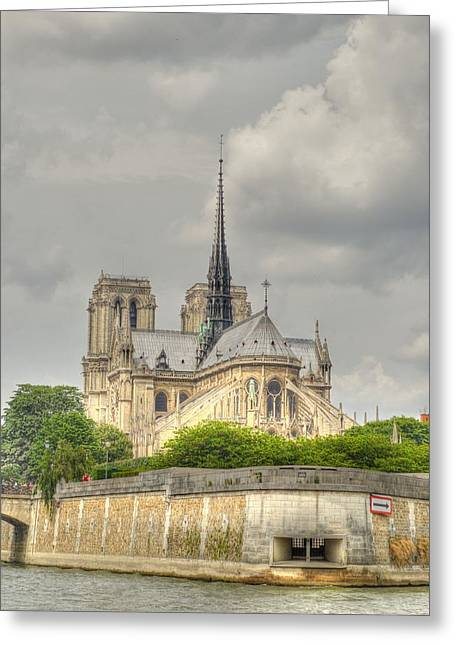 Blue Green Water Greeting Cards - Notre Dame from the Seine Greeting Card by Linda Covino