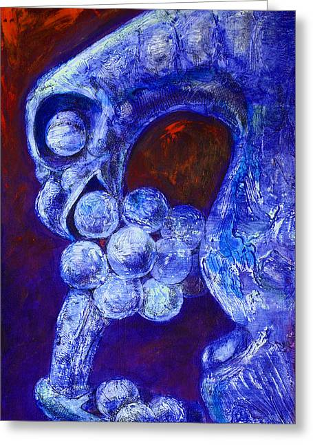 Blue Grapes Greeting Cards - Notre Dame Gargoyle Greeting Card by Derrick Higgins