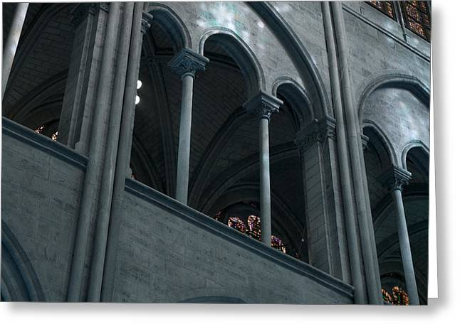Medieval Temple Greeting Cards - Notre Dame Gothic Arches in Teal Greeting Card by Evie Carrier