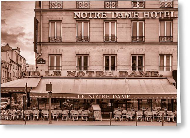 Coffee Drinking Greeting Cards - Notre Dame Hotel - Toned Greeting Card by Nomad Art And  Design