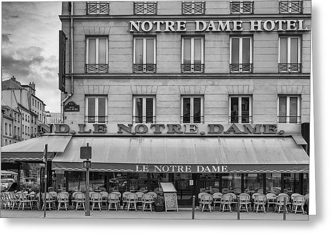 Coffee Drinking Greeting Cards - Notre Dame Hotel Greeting Card by Georgia Fowler
