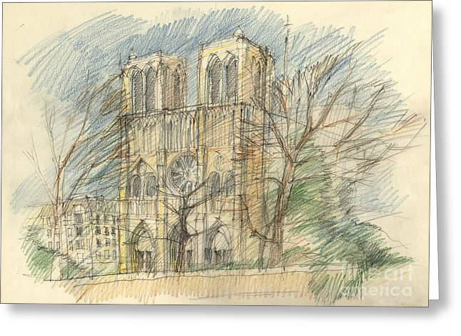 European work Drawings Greeting Cards - Notre Dame in Paris Greeting Card by Peut Etre