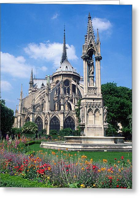 Church Photos Greeting Cards - Notre Dame in Spring Greeting Card by Kathy Yates