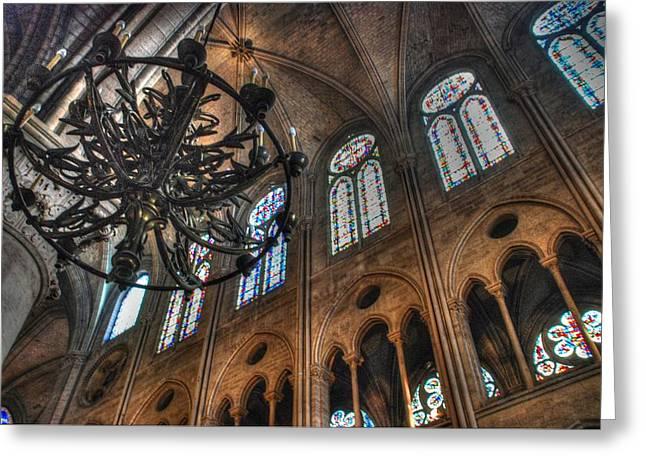 Notre Dame Interior Greeting Card by Jennifer Lyon