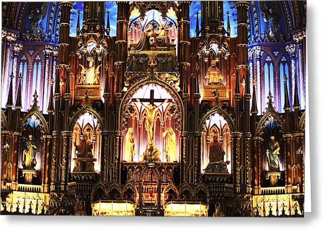 Notre Dame Interior Greeting Card by John Rizzuto
