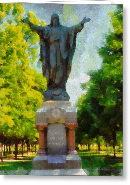 University Of Notre Dame Greeting Cards - Notre Dame Jesus Statue In Summer Greeting Card by Dan Sproul