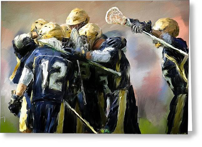 Scott Melby Greeting Cards - College Lacrosse Celebration  Greeting Card by Scott Melby
