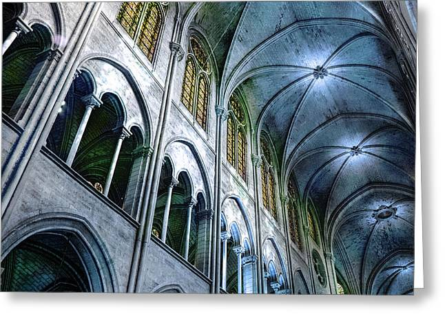Medieval Temple Greeting Cards - Notre Dame Paris North in Teal Greeting Card by Evie Carrier