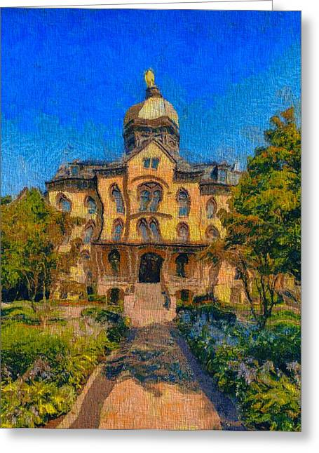 Indiana Photography Mixed Media Greeting Cards - Notre Dame University Meets Van Gogh Greeting Card by Dan Sproul