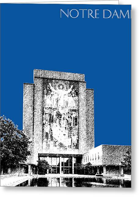 Library Greeting Cards - Notre Dame University Skyline Hesburgh Library - Royal Blue Greeting Card by DB Artist