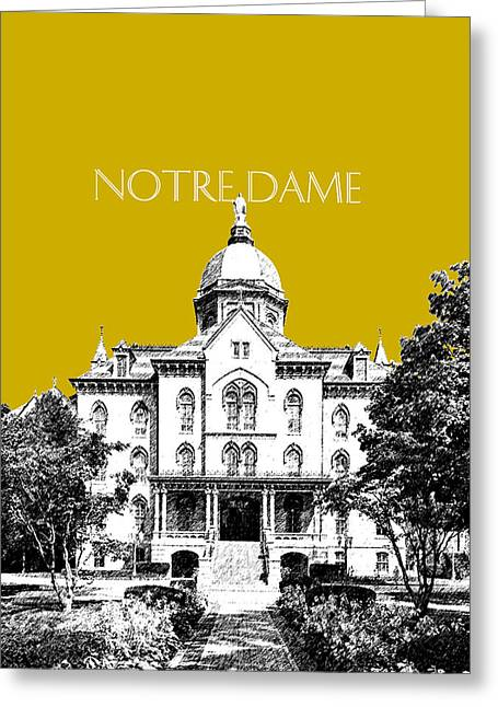 Pen Greeting Cards - Notre Dame University Skyline Main Building - Gold Greeting Card by DB Artist