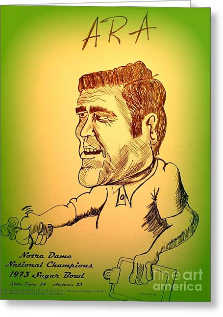 Bear Bryant Drawings Greeting Cards - Notre Dame vs Alabama Greeting Card by Greg Moores