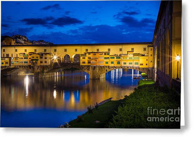 Tuscan Sunset Greeting Cards - Notte a Ponte Vecchio Greeting Card by Inge Johnsson