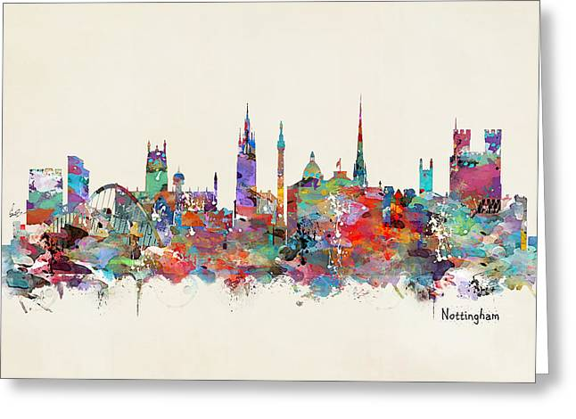Nottingham Greeting Cards - Nottingham City Skyline Greeting Card by Bri Buckley