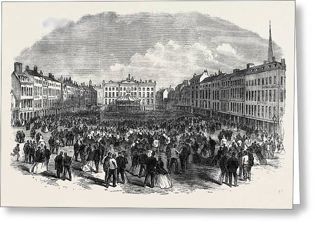 Nottingham Election The Hustings In The Marketplace Uk 1866 Greeting Card by English School
