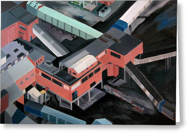 Shed Paintings Greeting Cards - Nottinghamshire coal mine Greeting Card by Toni Silber-Delerive