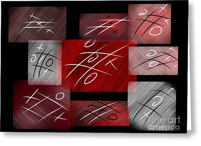 Noughts And Crosses Greeting Card by Rob Hawkins