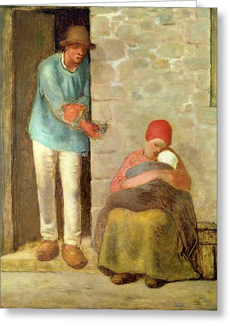 Poverty Greeting Cards - Nourishment, 1858 Greeting Card by Jean-Francois Millet