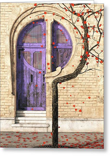 Red Leaves Digital Greeting Cards - Nouveau Greeting Card by Cynthia Decker