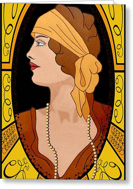 D.w. Drawings Greeting Cards - Nouveau Girl Greeting Card by Troy Brown