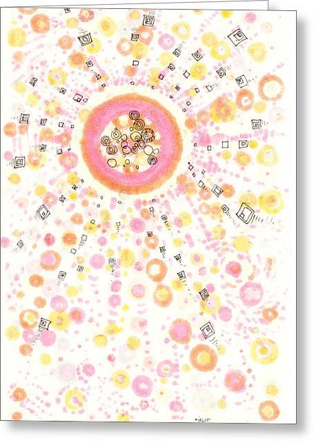 Disk Drawings Greeting Cards - Nova Greeting Card by Regina Valluzzi
