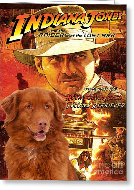 Indiana Paintings Greeting Cards - Nova Scotia Duck Tolling Retriever Art Canvas Print - Indiana Jones Movie Poster Greeting Card by Sandra Sij