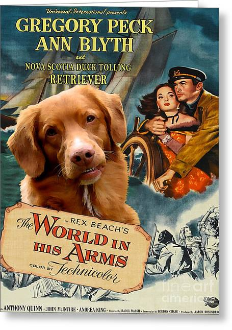 Retriever Prints Greeting Cards - Nova Scotia Duck Tolling Retriever Art Canvas Print - The World in his Arms Movie Poster Greeting Card by Sandra Sij