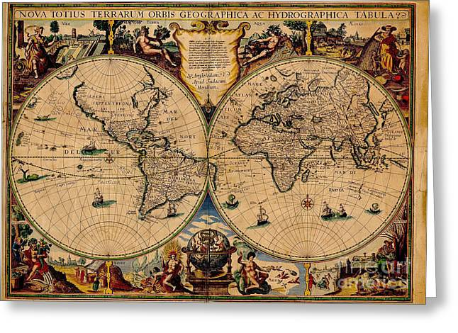 World Map Print Photographs Greeting Cards - Nova Totius Terrarum Orbis Geographica Ac Hydrographica Tabula Old World Map Greeting Card by Inspired Nature Photography By Shelley Myke