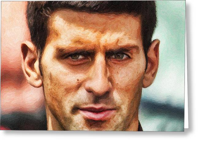 Tennis Champion Greeting Cards - Novak Djokovic Greeting Card by Nishanth Gopinathan