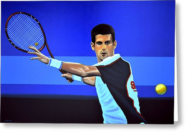 French Open Paintings Greeting Cards - Novak Djokovic Greeting Card by Paul  Meijering