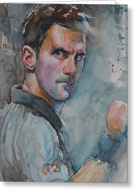 French Open Paintings Greeting Cards - Novak Djokovic - Portrait 1 Greeting Card by Baresh Kebar