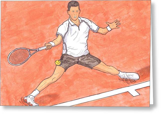 Steven White Greeting Cards - Novak Djokovic Sliding on Clay Greeting Card by Steven White