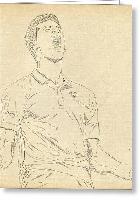 French Open Digital Greeting Cards - Novak Greeting Card by Scott  Colson