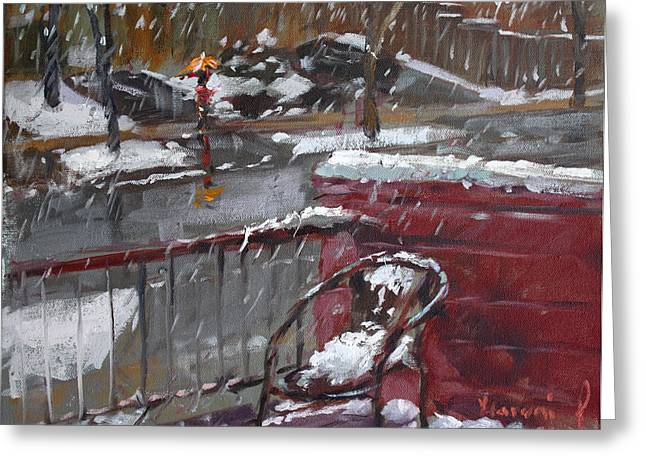 Snowscape Paintings Greeting Cards - First Snowfall Nov 17 2014 Greeting Card by Ylli Haruni